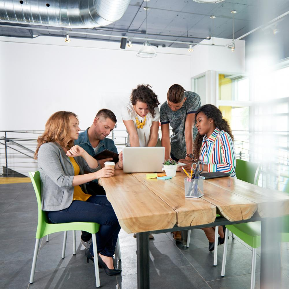 Workers gather around a conference table in an airy open office