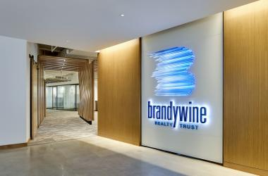Brandywine Realty Trust logo on the wall of their Philadelphia Headquarters