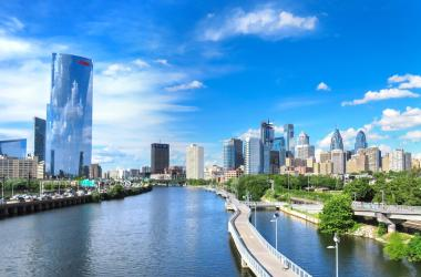 View of the Schuylkill River Trail in Philadelphia