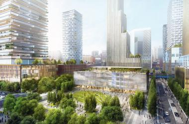 Rendering of the future Schuylkill Yards network of buildings